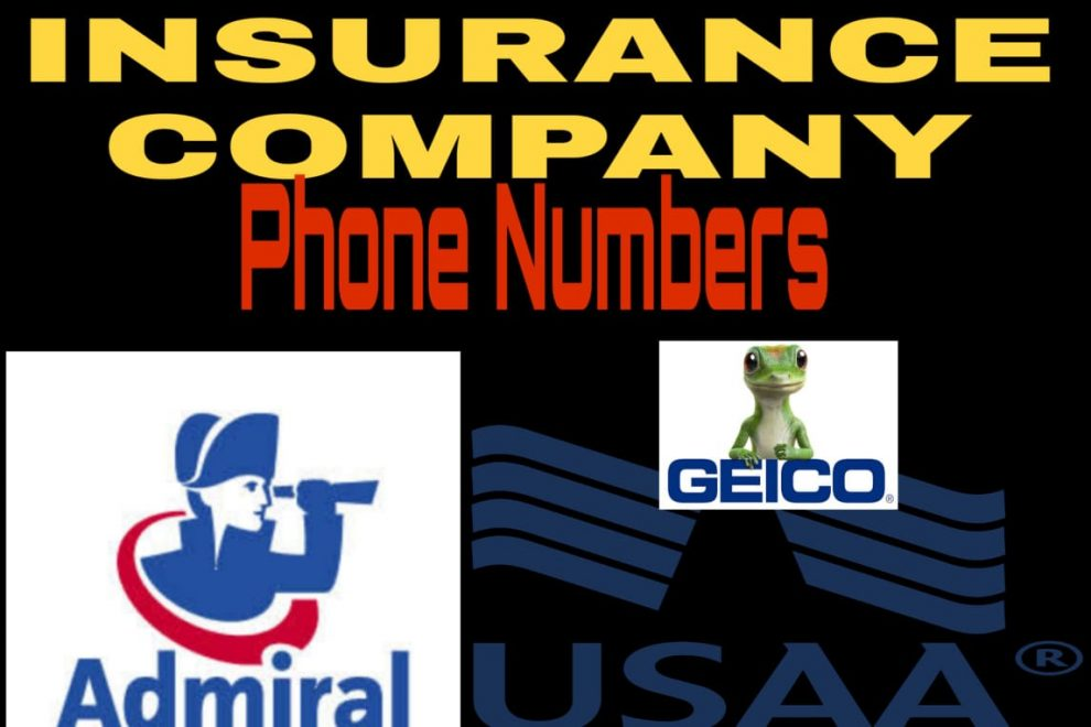 GEICO AXA USSA Admiral insurance phone numbers